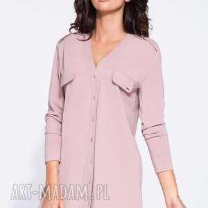 Pudrowa tunika damska w koszulowym fasonie tuniki bien fashion