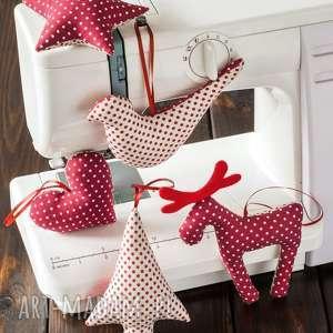 pomysł na świąteczne prezenty OZDOBY CHOINKOWE beżowo bordowe w kropki