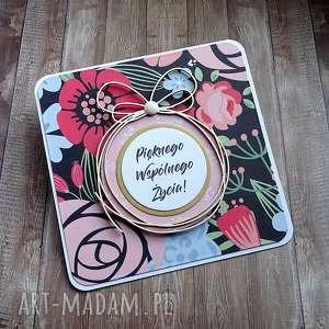 Ślubne kwiatki, kartka-na-ślub, życzenia-ślubne, wstążka