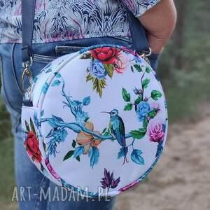 ręcznie wykonane upominki święta round bag - niebieskie kolibry