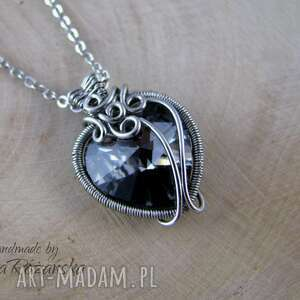Wisiorek serce Swarovski Silver Night, wire wrapping, wisiorek,