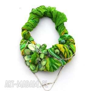 GREEN WAY naszyjnik handmade, naszyjnik, kolia, wisior, zielony, neon