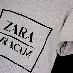 top bluzka koszulka szara z napisem zara wracam, top, bluzka, stylowa, uniwersalna