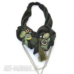 DARK GREEN naszyjnik handmade, naszyjnik, kolia, wisior, zielony, khaki, łańcuchy
