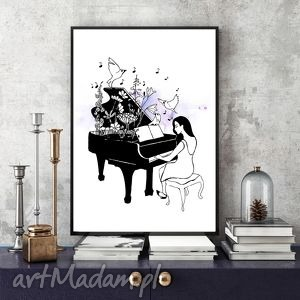 oryginalny prezent, pianistka a4, grafika, ilustracja, kobieta, fortepian