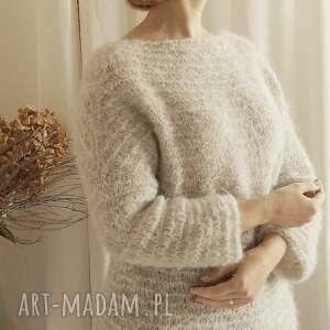 swetry jasno-szary lekki sweter, alpaka, lekki, wełniany, serek