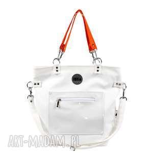 hand-made na ramię torba worek biała pomarańczowa