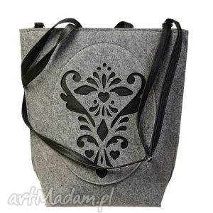 unikalny prezent, shopper bag rozetka, torebka, filc, filcowa, ażurek