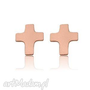 złote kolczyki krzyżyki z różowego złota - różowezłoto