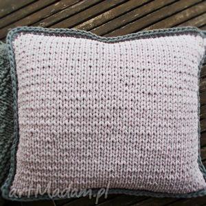 Dwukolorowa poduszka szaro wrzosowa, poduszka, sznurek, szary, wrzosowy, handmade