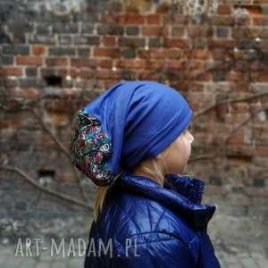 czapka dzianina sport bieganie etno wzory wiosna - czapka, wzory, etno, kolorowa, bieganie