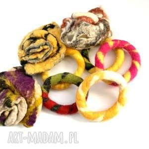 bransoletka ręcznie formowana filcowa jesienna handmade, filcowana,