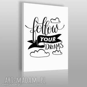 napis na płótnie - follow your dreams - 50x70 cm 56827 - napis, dekoracja