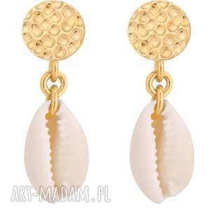 sotho złote kolczyki z muszelkami - białe kolczyki, wiszące