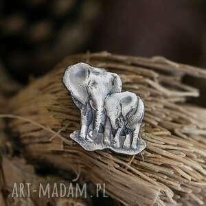 hand made broszki broszka dwa słoniki ze srebra