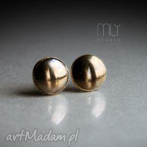 złote, błyszczące, okrągłe, sztyfty, wkrętki