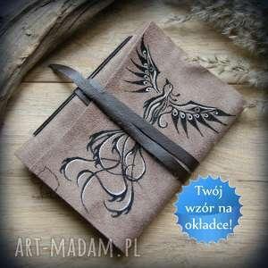 hand-made notesy skórzany zeszyt a6 z okładką malowaną na życzenie - twój