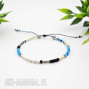bransoletka koralikowa minimal hematite - blue and silver, bransoletki, modna