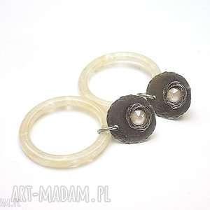 ring /ecru/ - kolczyki