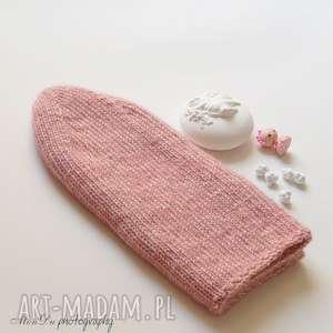 Jesienna różowa, czapka, bawełniana, nadrutach, merino, dziergana, smerfetka