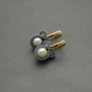 kolczyki sutasz z perłami, sznurek, wyjściowe, delikatne, eleganckie, wiszące