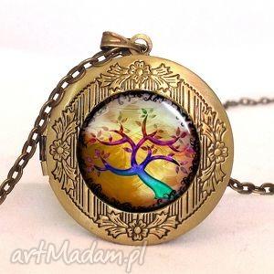 kolorowe drzewo - sekretnik z łańcuszkiem - jesień, medalion