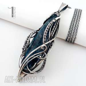 Prezent Eos srebrny naszyjnik z kyanitem, srebro, prezent, naszyjnik, wirewrapping
