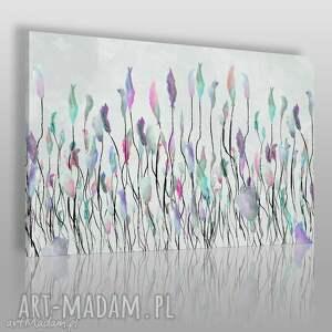 obrazy obraz na płótnie - łąka szary kolory 120x80 cm 53102, łąka, tęcza, kwiaty