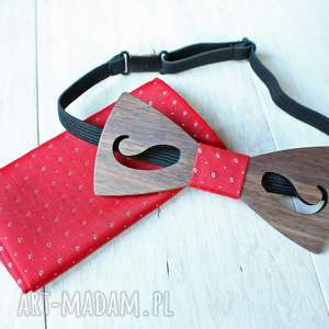 Zestaw drewniana muszka poszetka classic mustache czerwień muchy