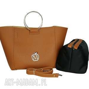 handmade torebki torebka łódeczka manzana 2w1 miejski styl - karmelowa