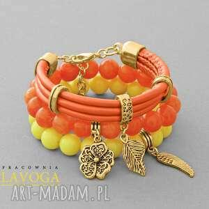 ręcznie robione bransoletki orange, yellow jade & strap set