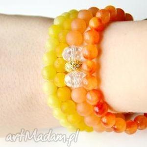 bracelet by sis cyrkonie w pomarańczowym jadeicie, kamienie, jadeit,