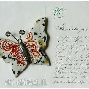 wyjątkowy prezent, ceramika motyl nakrapiany, ceramika, motyl