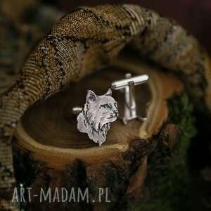 ręcznie wykonane męska ryś - srebrne spinki do koszuli z mankietami
