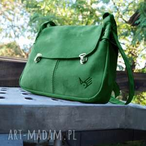 torebka skórzana uszaty włóczykij zielony zamsz, pojemna, zgrabna