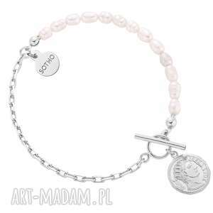 sotho srebrna bransoletka z pereł naturalnych zdobiona - łączona