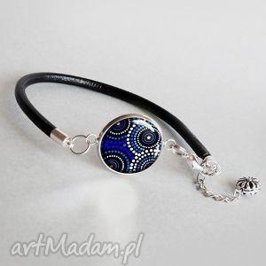 VERTIGO BLUE minimalistyczna bransoletka z grafiką w groszki, skóra, rzemień