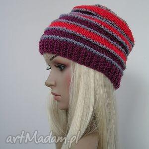 czapki pasiasta czapka szary - czerwony bordo boho dredy, czapka, ciepła, paski