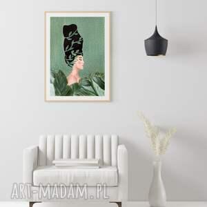 obraz - plakat 30x40 cm kobieta w zieleni, plakat, wydruk, postać