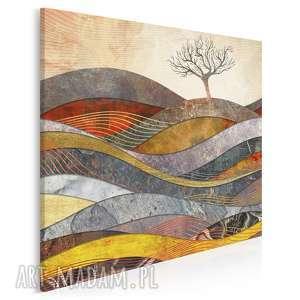 obraz na płótnie - drzewo wzgórze fale w kwadracie 80x80 cm 72602