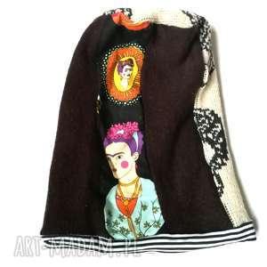 czapka damska z Frida Kahlo, etno, boho, zimowa, ciepła