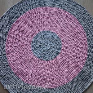 Okrągły dywan ze sznurka 120 cm w kolorze szaro różowym, dywan, chodnik, szary