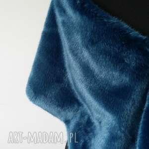 hand made ślub szal z futra niebieski