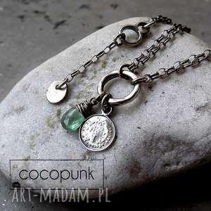 cocopunk srebro, zielony kianit- bransoletka z zawieszkami, delikatna, nowoczesna