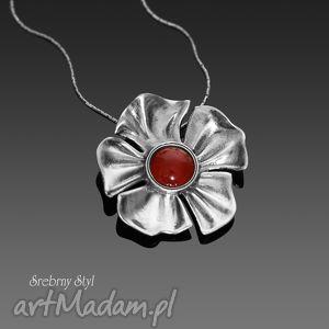 czerwony mak - elegancki, kobiecy, karneol, kwiat