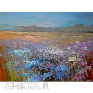 Obraz na płótnie - KOLOROWA ŁĄKA KWIATÓW 30/40 cm, abstrakcja, kwiaty, łąka