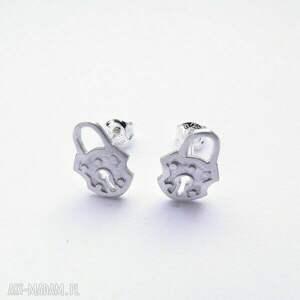 Kolczyki srebrne - Kłódeczki Białe, bizuteria, srebro, kolczyki