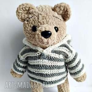 pluszowy pan miś w sweterku paski z kapturem, miś, maskotki, przytulanka, sweterek