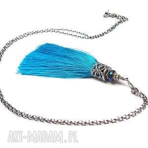 Chwościk /blue curacao / - naszyjnik, srebro, oksydowane, pozłacane, chwost, boho