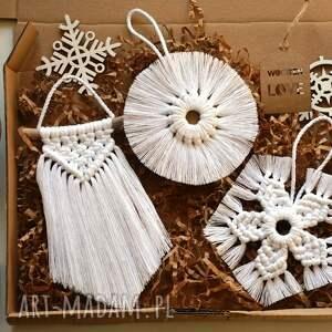 świąteczny prezent, dekoracje 3 x zawieszka makrama